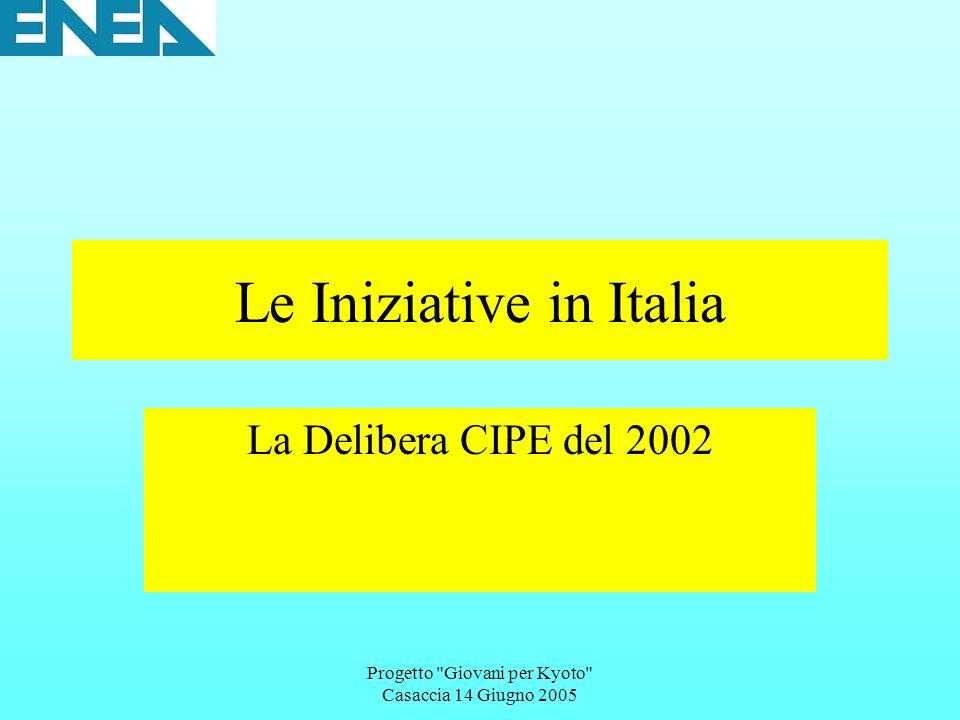 Progetto Giovani per Kyoto Casaccia 14 Giugno 2005 Le Iniziative in Italia La Delibera CIPE del 2002