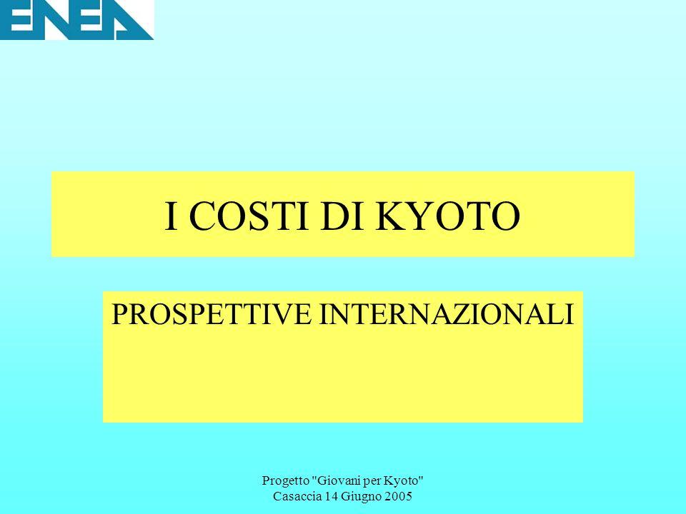 Progetto Giovani per Kyoto Casaccia 14 Giugno 2005 I COSTI DI KYOTO PROSPETTIVE INTERNAZIONALI