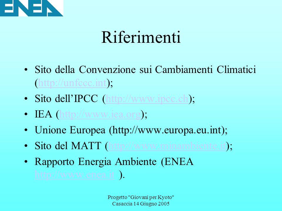 Progetto Giovani per Kyoto Casaccia 14 Giugno 2005 Riferimenti Sito della Convenzione sui Cambiamenti Climatici (http://unfccc.int);http://unfccc.int Sito dellIPCC (http://www.ipcc.ch);http://www.ipcc.ch IEA (http://www.iea.org);http://www.iea.org Unione Europea (http://www.europa.eu.int); Sito del MATT (http://www.minambiente.it);http://www.minambiente.it Rapporto Energia Ambiente (ENEA http://www.enea.it ).