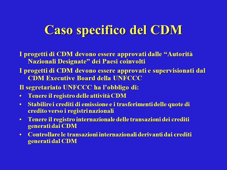 Caso specifico del CDM I progetti di CDM devono essere approvati dalle Autorità Nazionali Designate dei Paesi coinvolti I progetti di CDM devono essere approvati e supervisionati dal CDM Executive Board della UNFCCC Il segretariato UNFCCC ha lobbligo di: Tenere il registro delle attività CDMTenere il registro delle attività CDM Stabilire i crediti di emissione e i trasferimenti delle quote di credito verso i registri nazionaliStabilire i crediti di emissione e i trasferimenti delle quote di credito verso i registri nazionali Tenere il registro internazionale delle transazioni dei crediti generati dai CDMTenere il registro internazionale delle transazioni dei crediti generati dai CDM Controllare le transazioni internazionali derivanti dai crediti generati dal CDMControllare le transazioni internazionali derivanti dai crediti generati dal CDM