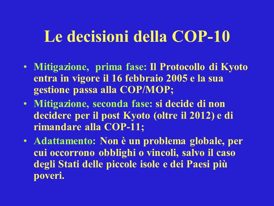 Le decisioni della COP-10 Mitigazione, prima fase: Il Protocollo di Kyoto entra in vigore il 16 febbraio 2005 e la sua gestione passa alla COP/MOP; Mitigazione, seconda fase: si decide di non decidere per il post Kyoto (oltre il 2012) e di rimandare alla COP-11; Adattamento: Non è un problema globale, per cui occorrono obblighi o vincoli, salvo il caso degli Stati delle piccole isole e dei Paesi più poveri.