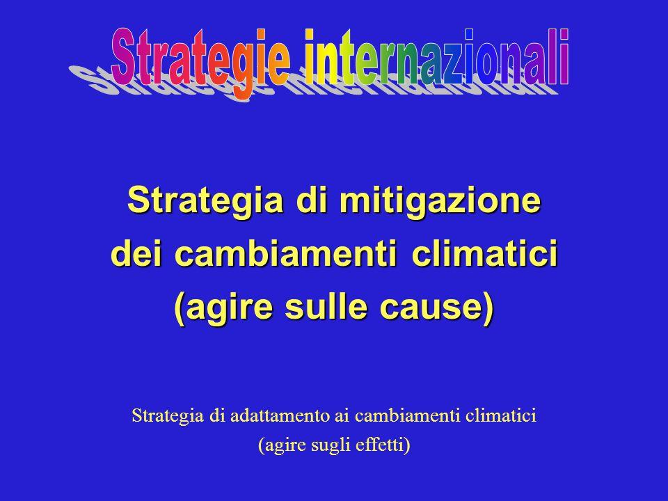 Strategia di mitigazione dei cambiamenti climatici (agire sulle cause) Strategia di adattamento ai cambiamenti climatici (agire sugli effetti)