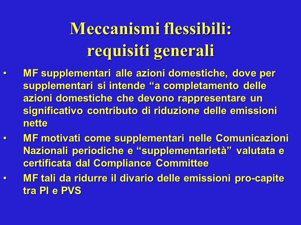 Requisiti richiesti per attuare i meccanismi flessibili per i Paesi Annex I (da certificare dal Compliance Committee della UNFCCC al 1 gennaio 2007) Aver ratificato il ProtocolloAver ratificato il Protocollo Aver definito gli assigned amounts (ovvero nella UE il PN di allocazione dei permessi di emissione espressi in tonnellate di CO2 equivalente)Aver definito gli assigned amounts (ovvero nella UE il PN di allocazione dei permessi di emissione espressi in tonnellate di CO2 equivalente) Aver organizzato il sistema nazionale di valutazione e di censimento delle emissioni e degli assorbimentiAver organizzato il sistema nazionale di valutazione e di censimento delle emissioni e degli assorbimenti Aver istituito il registro nazionale delle transazioni delle quote di emissioni (trasferimenti ed acquisizioni)Aver istituito il registro nazionale delle transazioni delle quote di emissioni (trasferimenti ed acquisizioni) Aver ottemperato allobbligo di reporting annuale al Segretariato UNFCCCAver ottemperato allobbligo di reporting annuale al Segretariato UNFCCC