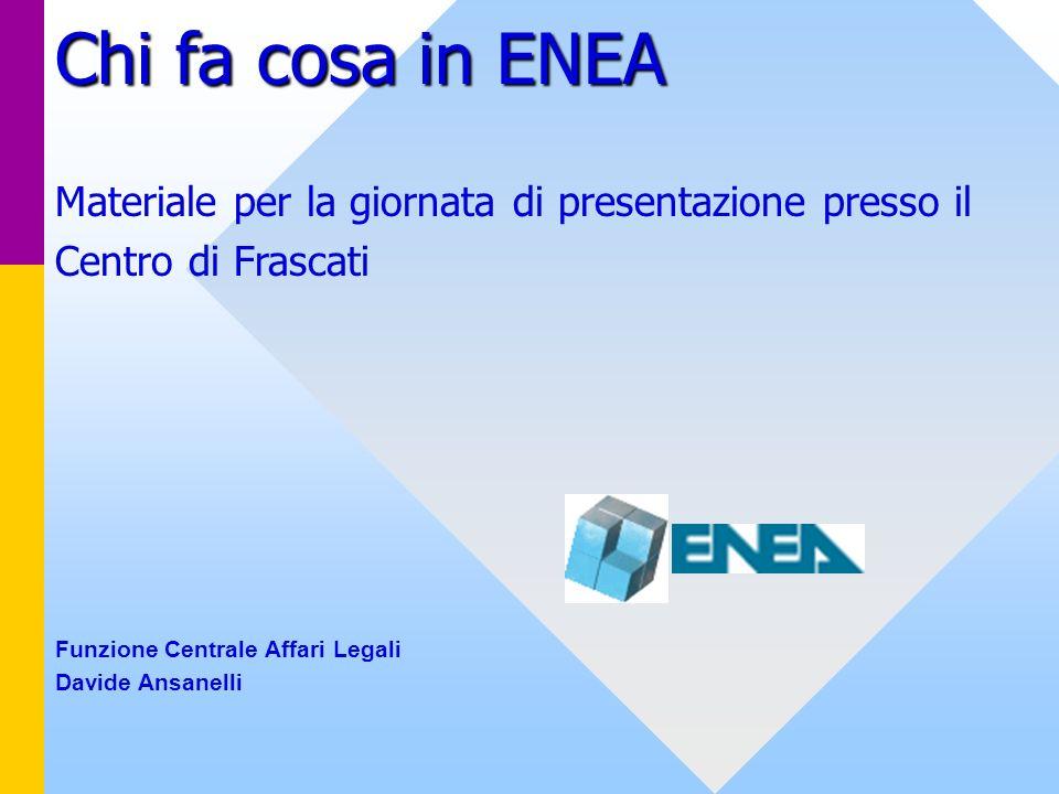 Chi fa cosa in ENEA Materiale per la giornata di presentazione presso il Centro di Frascati Funzione Centrale Affari Legali Davide Ansanelli