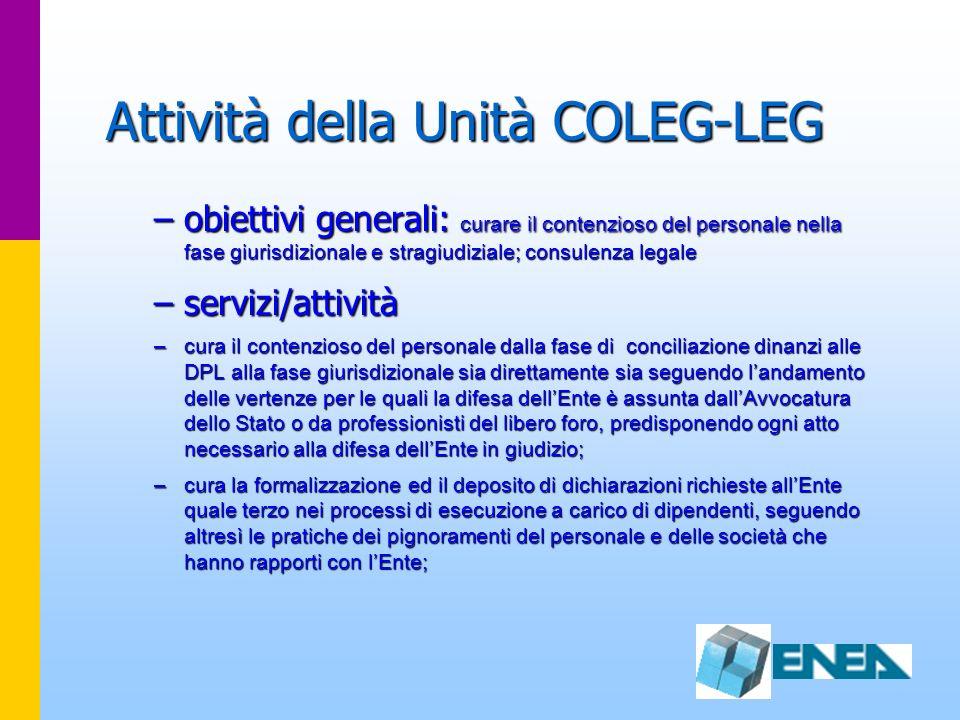 Attività della Unità COLEG-LEG –obiettivi generali: curare il contenzioso del personale nella fase giurisdizionale e stragiudiziale; consulenza legale