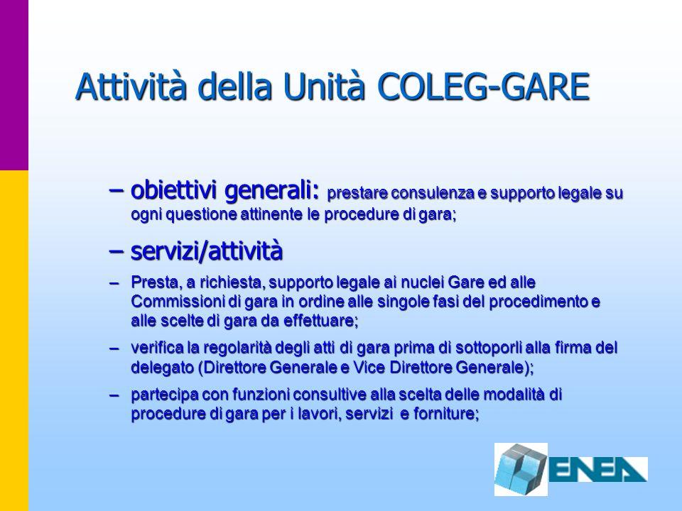 Attività della Unità COLEG-GARE –obiettivi generali: prestare consulenza e supporto legale su ogni questione attinente le procedure di gara; –servizi/