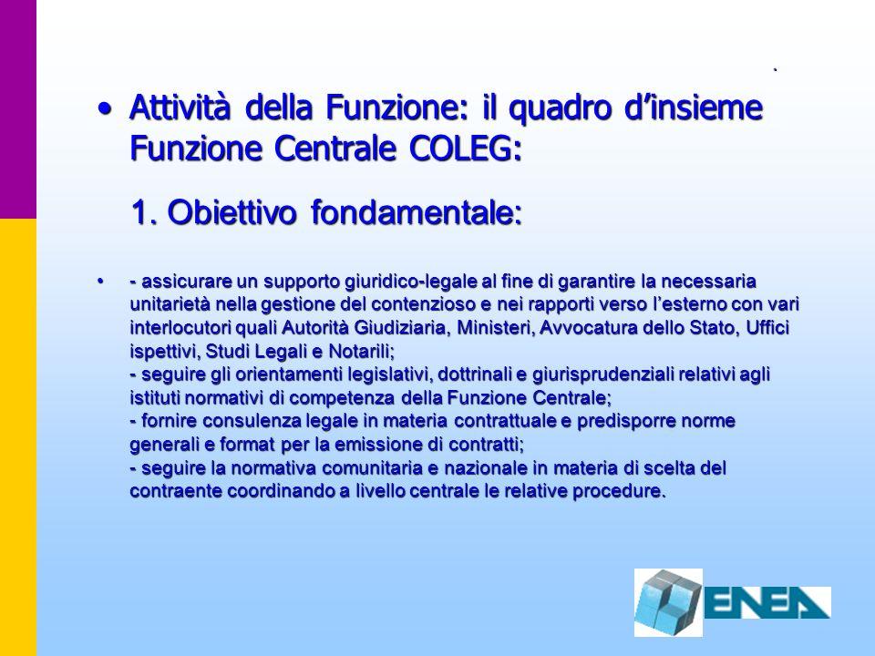 . Attività della Funzione: il quadro dinsieme Funzione Centrale COLEG: 1. Obiettivo fondamentale:Attività della Funzione: il quadro dinsieme Funzione
