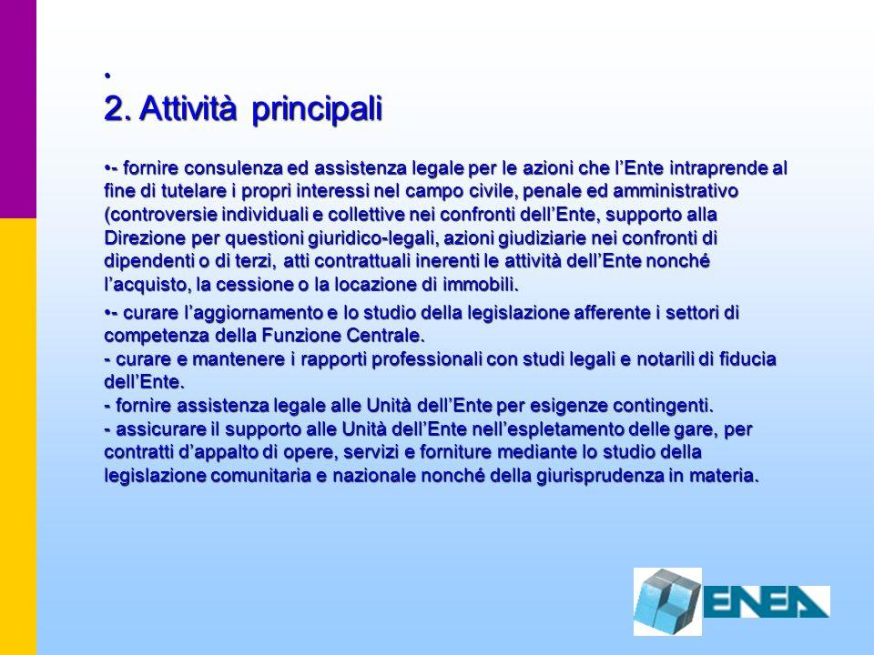 2. Attività principali 2. Attività principali - fornire consulenza ed assistenza legale per le azioni che lEnte intraprende al fine di tutelare i prop