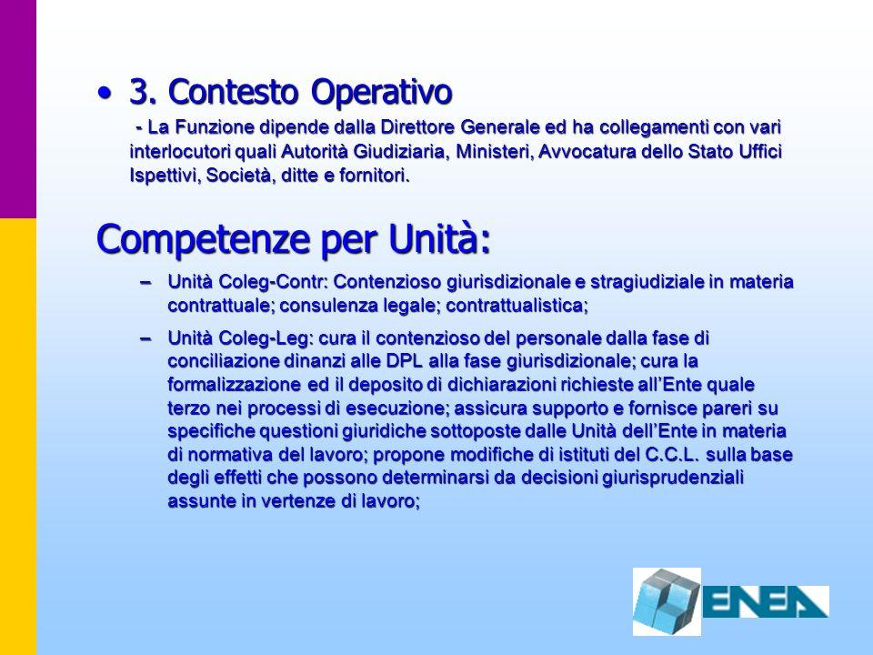 3. Contesto Operativo - La Funzione dipende dalla Direttore Generale ed ha collegamenti con vari interlocutori quali Autorità Giudiziaria, Ministeri,