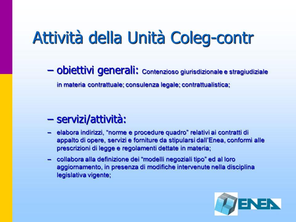 Attività della Unità Coleg-contr –obiettivi generali: Contenzioso giurisdizionale e stragiudiziale in materia contrattuale; consulenza legale; contrat