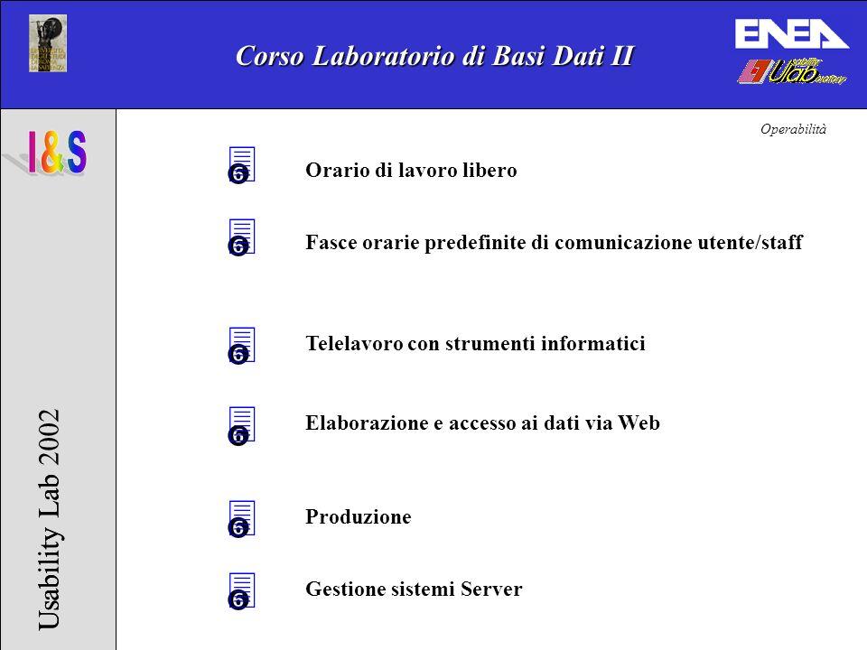 Corso Laboratorio di Basi Dati II Usability Lab 2002Usability Lab 3 3 Elaborazione e accesso ai dati via Web Telelavoro con strumenti informatici 3 Fa