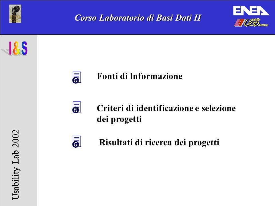 Corso Laboratorio di Basi Dati II Usability Lab 2002Usability Lab 3 Fonti di Informazione Criteri di identificazione e selezione dei progetti 3 3 Risultati di ricerca dei progetti