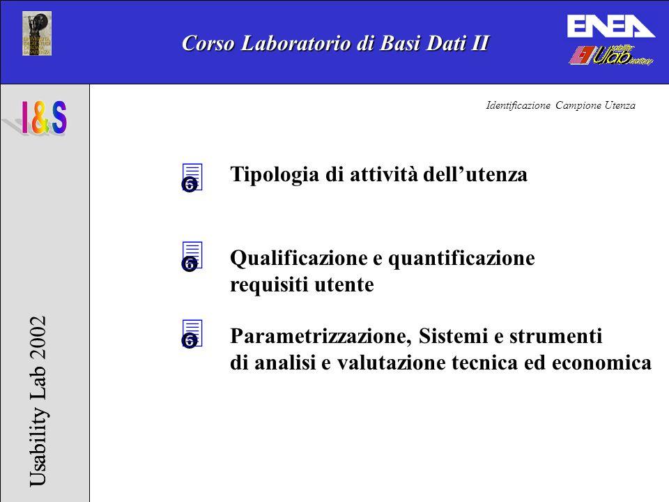 Corso Laboratorio di Basi Dati II Usability Lab 2002Usability Lab 3 Tipologia di attività dellutenza Qualificazione e quantificazione requisiti utente