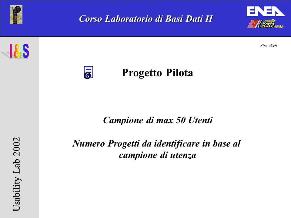 Corso Laboratorio di Basi Dati II Usability Lab 2002Usability Lab 3 Progetto Pilota Campione di max 50 Utenti Numero Progetti da identificare in base