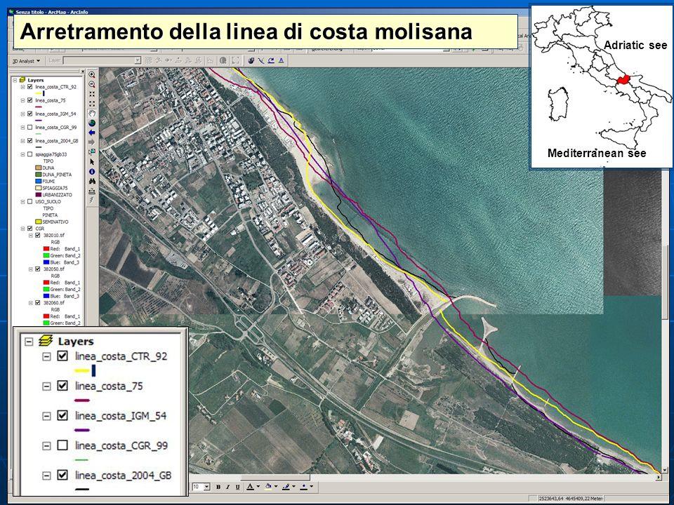 Arretramento della linea di costa molisana Adriatic see Mediterranean see