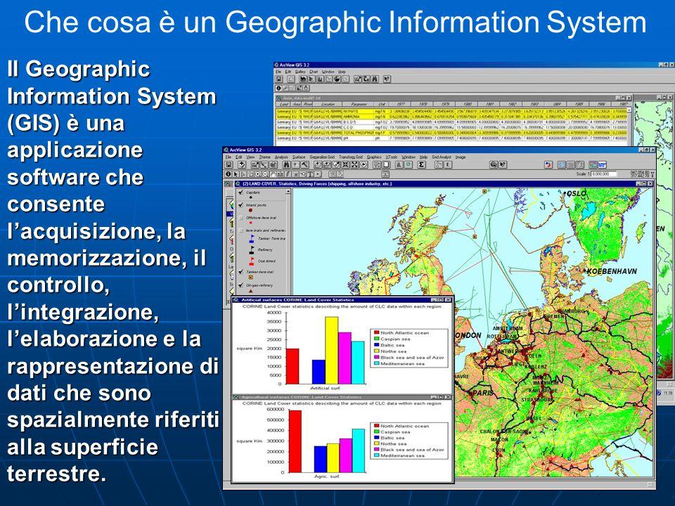 Che cosa è un Geographic Information System Il Geographic Information System (GIS) è una applicazione software che consente lacquisizione, la memorizz