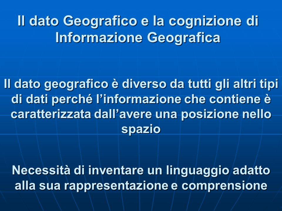 Il dato Geografico e la cognizione di Informazione Geografica Il dato geografico è diverso da tutti gli altri tipi di dati perché linformazione che co