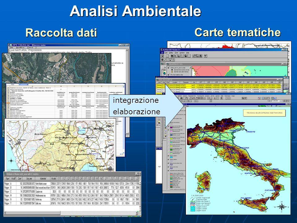Analisi Ambientale Raccolta dati Carte tematiche Carte tematiche integrazioneelaborazione