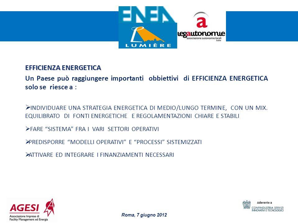 3 EFFICIENZA ENERGETICA Un Paese può raggiungere importanti obbiettivi di EFFICIENZA ENERGETICA solo se riesce a : INDIVIDUARE UNA STRATEGIA ENERGETIC