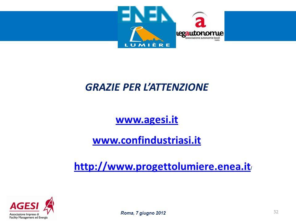 32 GRAZIE PER LATTENZIONE www.agesi.it www.confindustriasi.it http://www.progettolumiere.enea.it http://www.progettolumiere.enea.it / Roma, 7 giugno 2