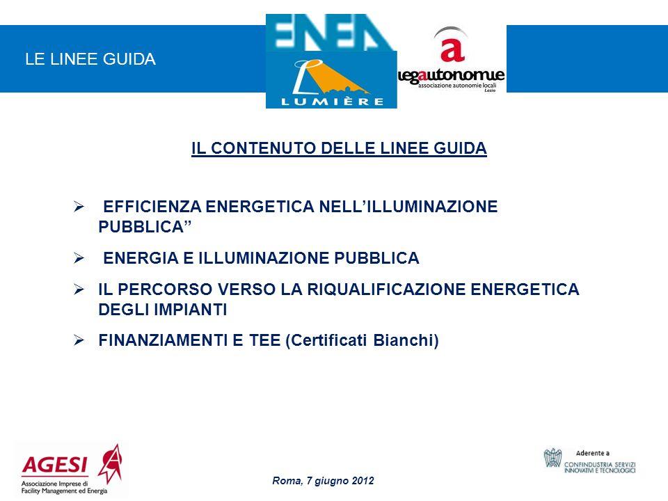 8 IL CONTENUTO DELLE LINEE GUIDA EFFICIENZA ENERGETICA NELLILLUMINAZIONE PUBBLICA ENERGIA E ILLUMINAZIONE PUBBLICA IL PERCORSO VERSO LA RIQUALIFICAZIO