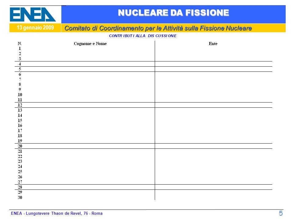 Comitato di Coordinamento per le Attività sulla Fissione Nucleare 13 gennaio 2009 NUCLEARE DA FISSIONE ENEA - Lungotevere Thaon de Revel, 76 - Roma 6
