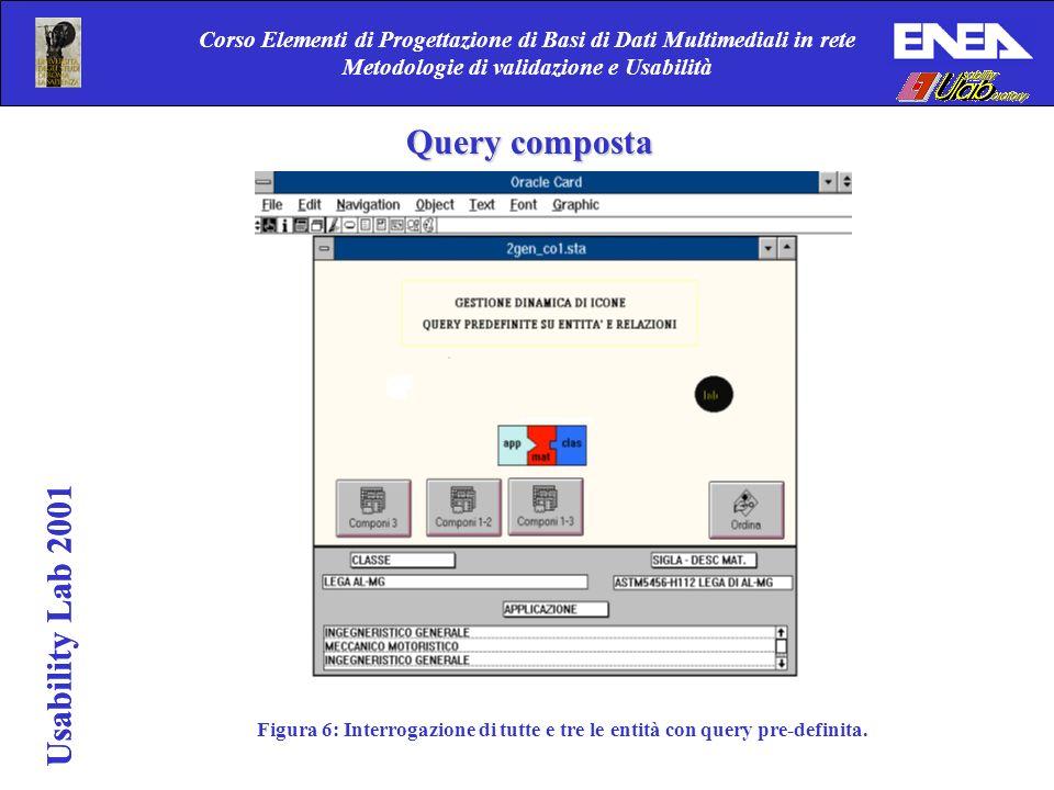 Usability Lab 2001 Corso Elementi di Progettazione di Basi di Dati Multimediali in rete Metodologie di validazione e Usabilità Usability Lab 2001 Figura 6: Interrogazione di tutte e tre le entità con query pre-definita.