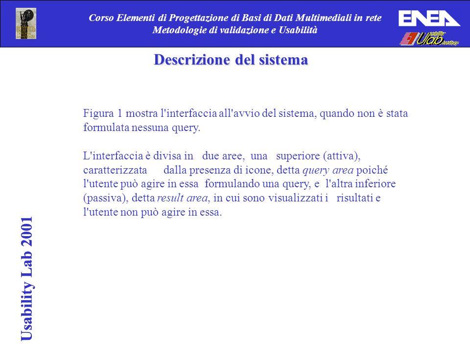 Corso Elementi di Progettazione di Basi di Dati Multimediali in rete Metodologie di validazione e Usabilità Descrizione del sistema Figura 1 mostra l interfaccia all avvio del sistema, quando non è stata formulata nessuna query.