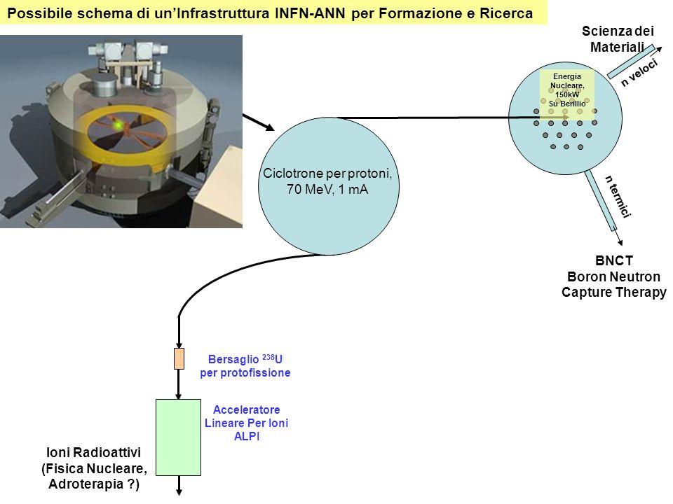 Bersaglio 238 U per protofissione Acceleratore Lineare Per Ioni ALPI Ioni Radioattivi (Fisica Nucleare, Adroterapia ) BNCT Boron Neutron Capture Therapy Scienza dei Materiali n veloci n termici Possibile schema di unInfrastruttura INFN-ANN per Formazione e Ricerca Ciclotrone per protoni, 70 MeV, 1 mA Energia Nucleare, 150kW Su Berillio