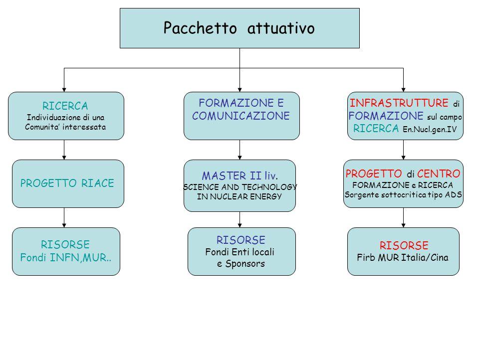 PROPOSTE DI RICERCA (RIACE) Un Programma basato su 8 diversi progetti,col contributo di varie Sezioni italiane selezionati da un Comitato misto INFN/Ansaldo Nucleare e relativi a: La sicurezza in ambiente nucleare La sicurezza nei trasporti e ai portali I sistemi di monitoraggio Nuovi tipi di rivelatori