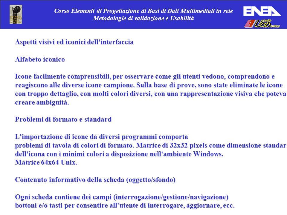 Corso Elementi di Progettazione di Basi di Dati Multimediali in rete Metodologie di validazione e Usabilità Aspetti visivi ed iconici dell'interfaccia