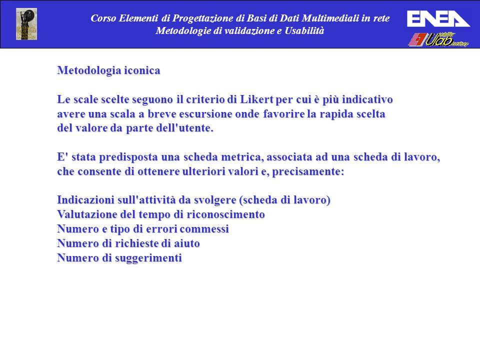 Corso Elementi di Progettazione di Basi di Dati Multimediali in rete Metodologie di validazione e Usabilità Metodologia iconica Le scale scelte seguon