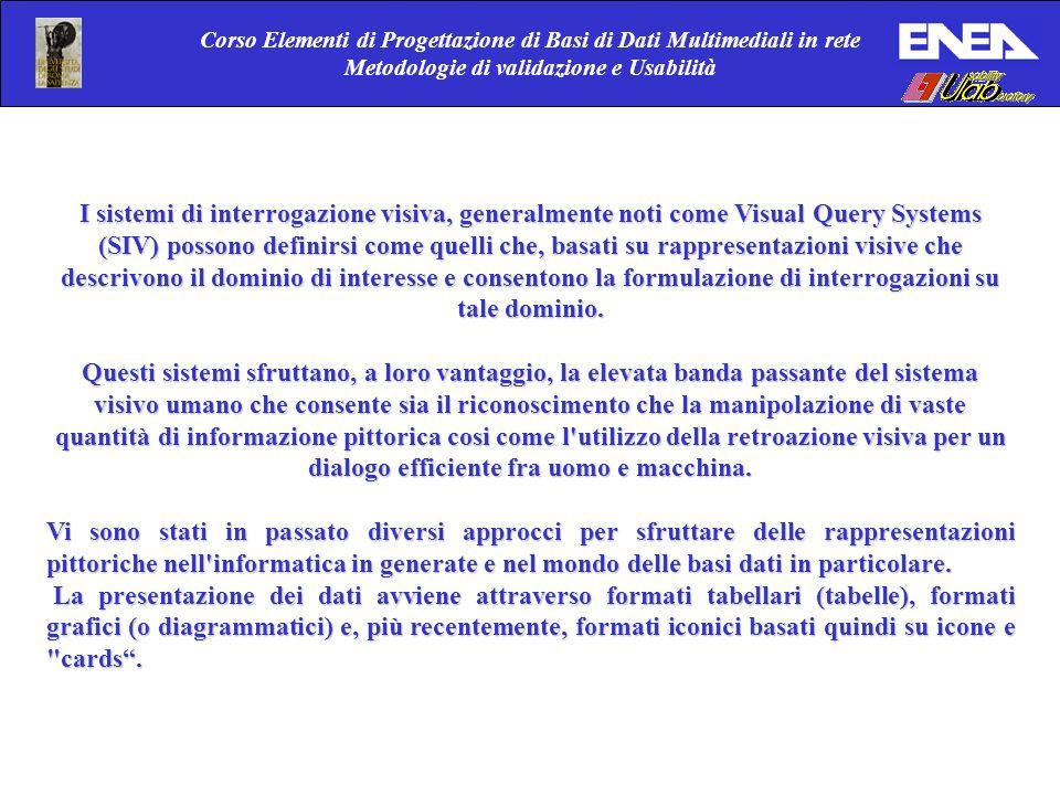 Corso Elementi di Progettazione di Basi di Dati Multimediali in rete Metodologie di validazione e Usabilità I sistemi di interrogazione visiva, genera
