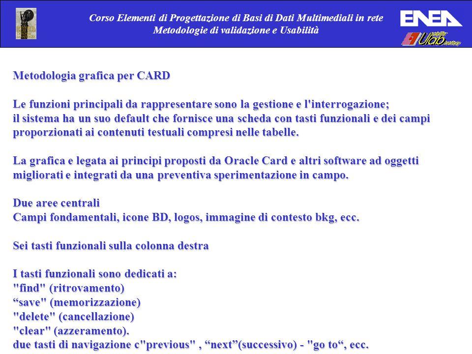 Corso Elementi di Progettazione di Basi di Dati Multimediali in rete Metodologie di validazione e Usabilità Metodologia grafica per CARD Le funzioni p