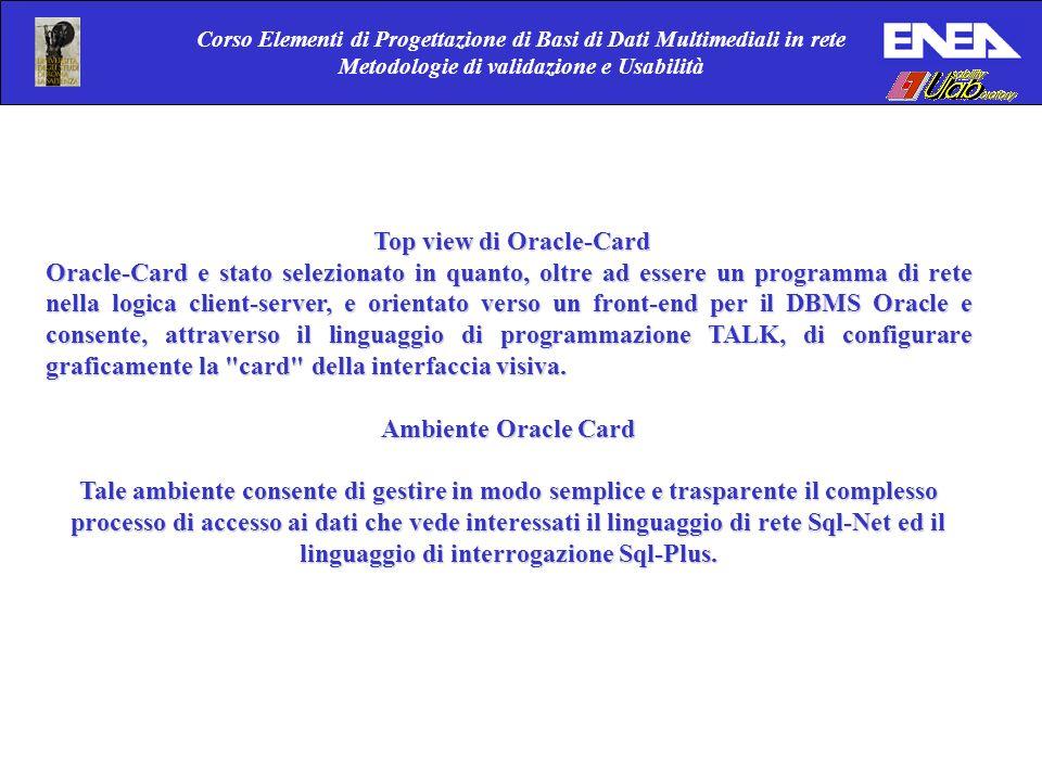 Corso Elementi di Progettazione di Basi di Dati Multimediali in rete Metodologie di validazione e Usabilità Top view di Oracle-Card Top view di Oracle