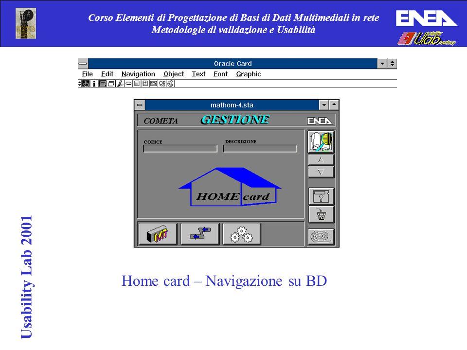Corso Elementi di Progettazione di Basi di Dati Multimediali in rete Metodologie di validazione e Usabilità Usability Lab 2001 Home card – Navigazione