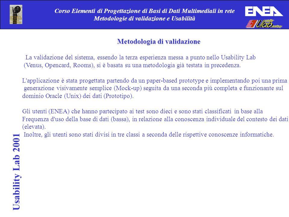 Usability Lab 2001 Corso Elementi di Progettazione di Basi di Dati Multimediali in rete Metodologie di validazione e Usabilità Metodologia di validazi