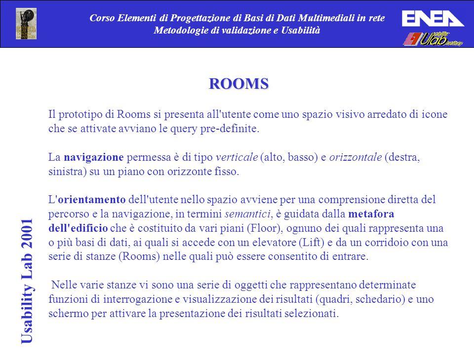 Usability Lab 2001 Corso Elementi di Progettazione di Basi di Dati Multimediali in rete Metodologie di validazione e Usabilità ROOMS Il prototipo di R