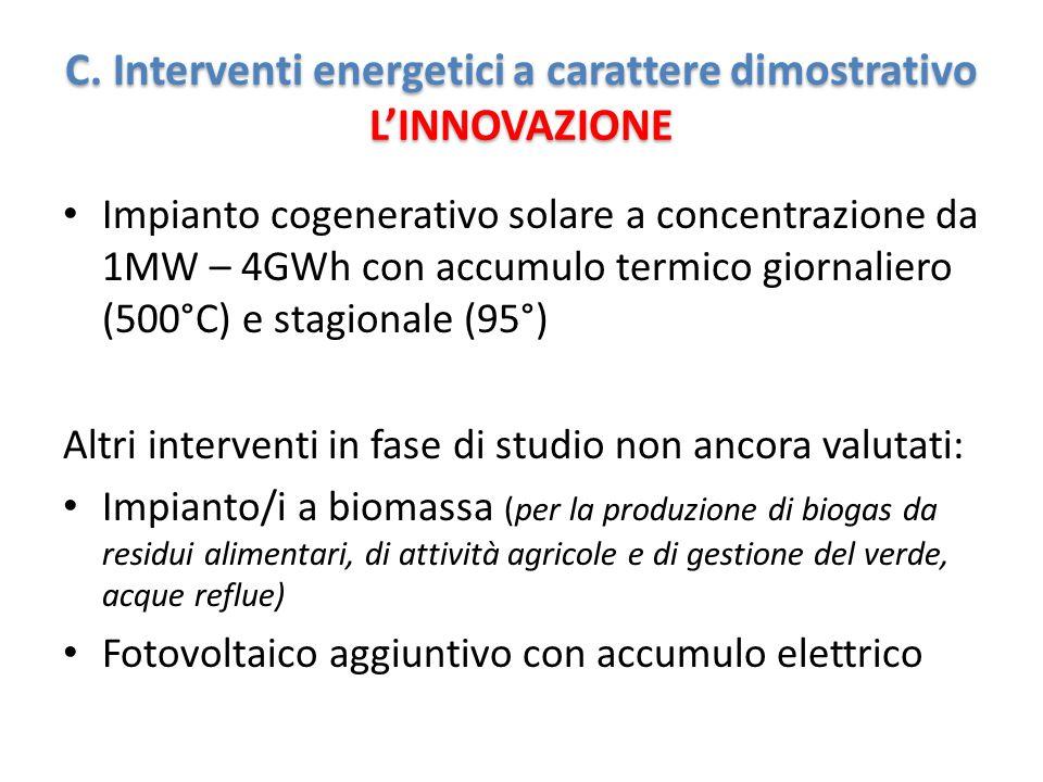 Impianto cogenerativo solare a concentrazione da 1MW – 4GWh con accumulo termico giornaliero (500°C) e stagionale (95°) Altri interventi in fase di studio non ancora valutati: Impianto/i a biomassa (per la produzione di biogas da residui alimentari, di attività agricole e di gestione del verde, acque reflue) Fotovoltaico aggiuntivo con accumulo elettrico C.