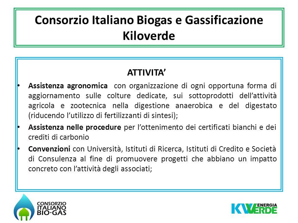 Consorzio Italiano Biogas e Gassificazione Kiloverde SERVIZI SERVIZIO ENERGIA: assistenza specialistica relativa a: -Procedure e iter relativi all accesso alla rete elettrica e al mercato elettrico.