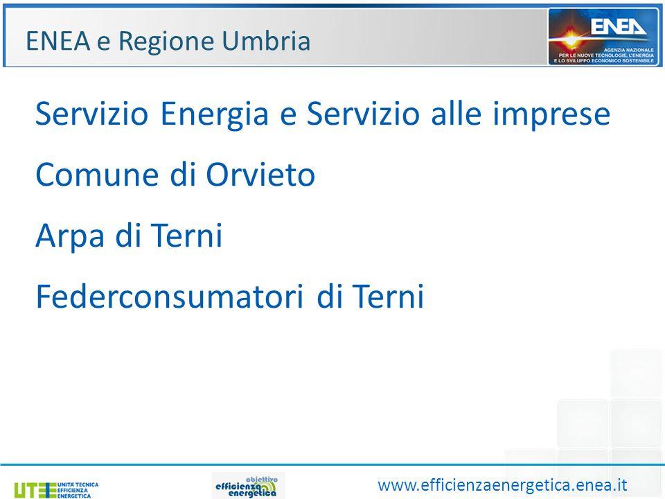 ENEA e Regione Umbria www.efficienzaenergetica.enea.it Servizio Energia e Servizio alle imprese Comune di Orvieto Arpa di Terni Federconsumatori di Terni