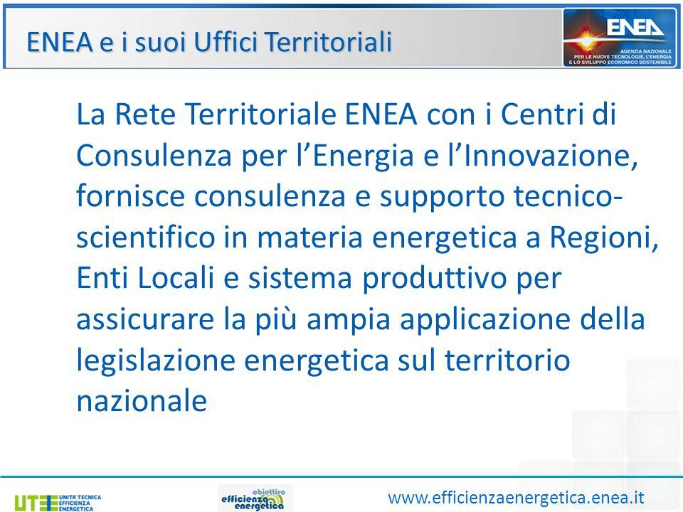 Ruolo degli Uffici Territoriali www.efficienzaenergetica.enea.it Attraverso la rete di uffici periferici regionali ENEA svolge un importante azione di raccordo tra i decisori del settore pubblico e privato, per favorire l adozione di criteri di sostenibilità energetico-ambientale nei processi di sviluppo locale