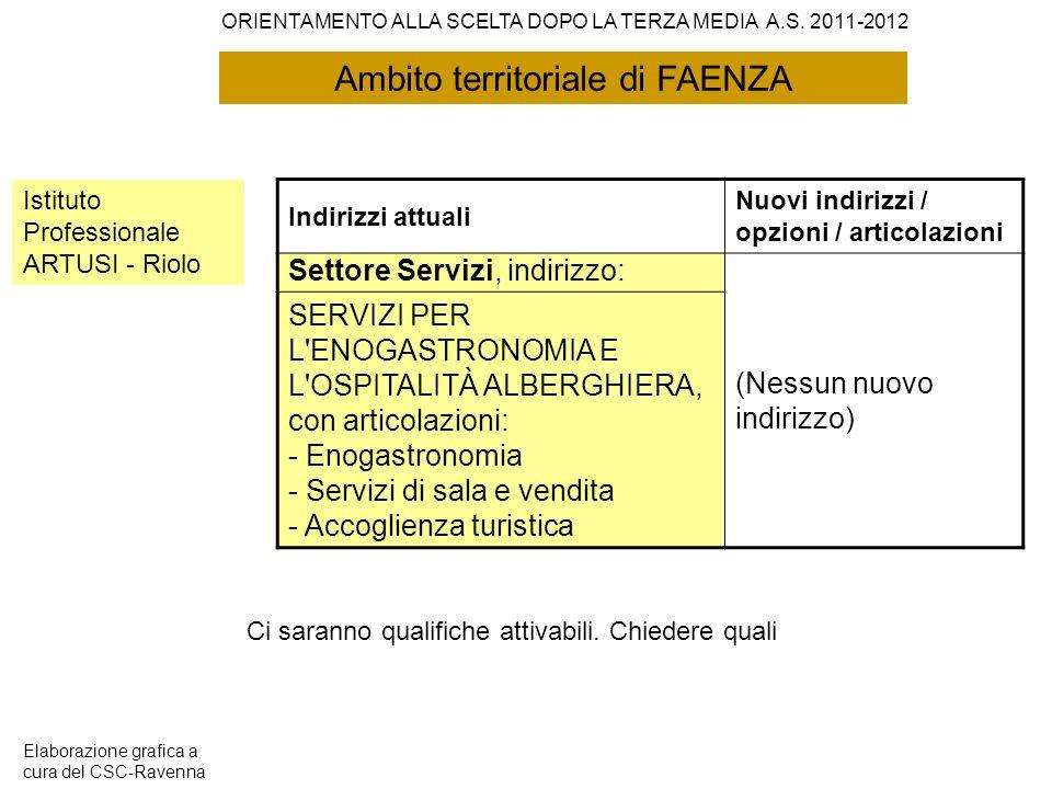 Ambito territoriale di FAENZA Istituto Professionale ARTUSI - Riolo Indirizzi attuali Nuovi indirizzi / opzioni / articolazioni Settore Servizi, indir