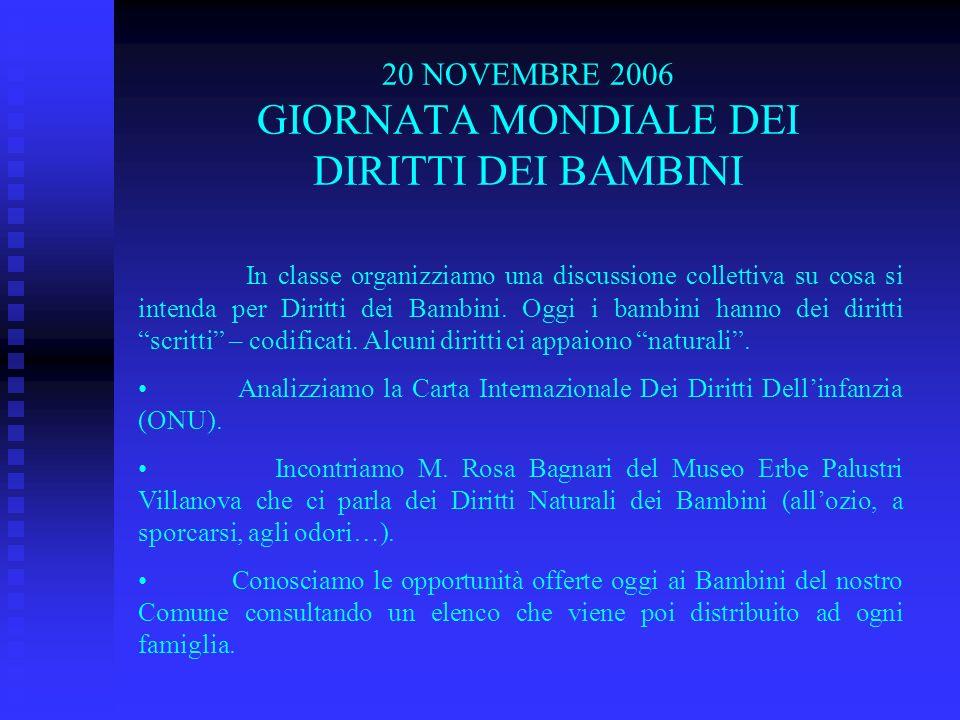 20 NOVEMBRE 2006 GIORNATA MONDIALE DEI DIRITTI DEI BAMBINI In classe organizziamo una discussione collettiva su cosa si intenda per Diritti dei Bambin