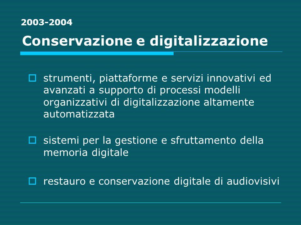 Conservazione e digitalizzazione strumenti, piattaforme e servizi innovativi ed avanzati a supporto di processi modelli organizzativi di digitalizzazione altamente automatizzata sistemi per la gestione e sfruttamento della memoria digitale restauro e conservazione digitale di audiovisivi 2003-2004