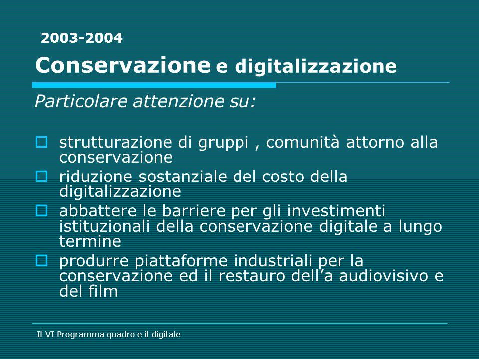 Conservazione e digitalizzazione Particolare attenzione su: strutturazione di gruppi, comunità attorno alla conservazione riduzione sostanziale del co