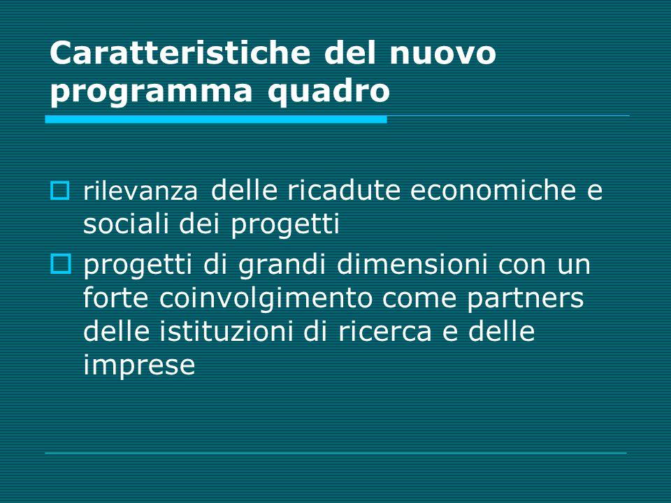 Caratteristiche del nuovo programma quadro rilevanza delle ricadute economiche e sociali dei progetti progetti di grandi dimensioni con un forte coinvolgimento come partners delle istituzioni di ricerca e delle imprese