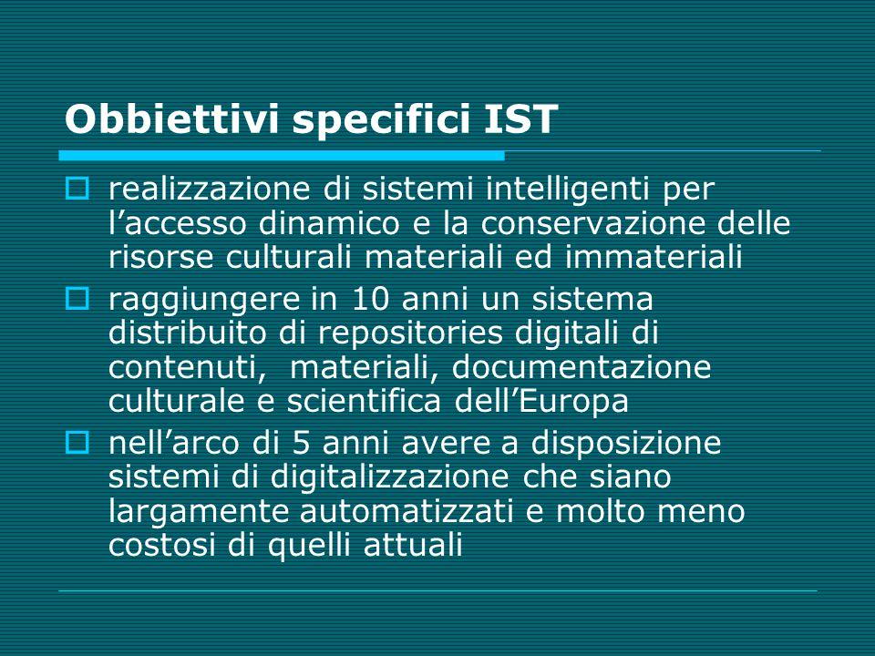 Obbiettivi specifici IST realizzazione di sistemi intelligenti per laccesso dinamico e la conservazione delle risorse culturali materiali ed immateria