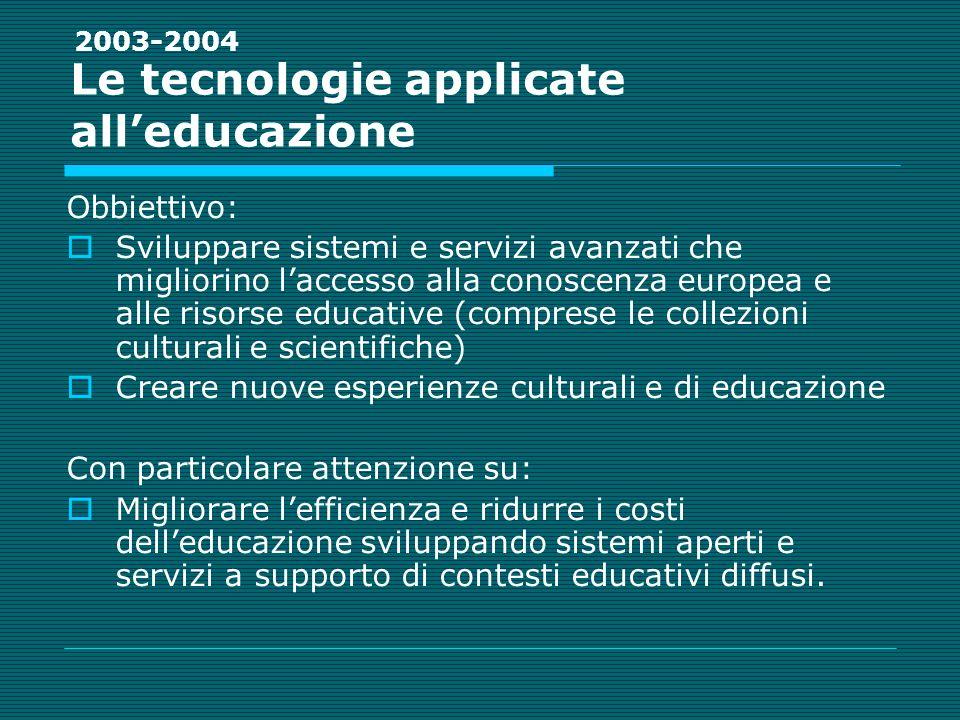 Le tecnologie applicate alleducazione Obbiettivo: Sviluppare sistemi e servizi avanzati che migliorino laccesso alla conoscenza europea e alle risorse