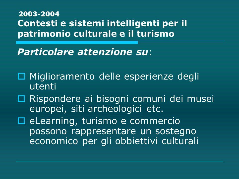 Contesti e sistemi intelligenti per il patrimonio culturale e il turismo Particolare attenzione su: Miglioramento delle esperienze degli utenti Rispondere ai bisogni comuni dei musei europei, siti archeologici etc.